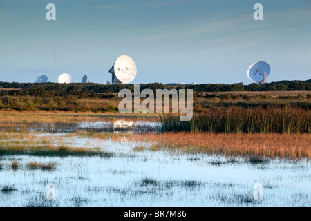 Croft Pascoe National Nature Reserve; Cornwall with Goonhilly satelite dishes beyond - Stock Photo