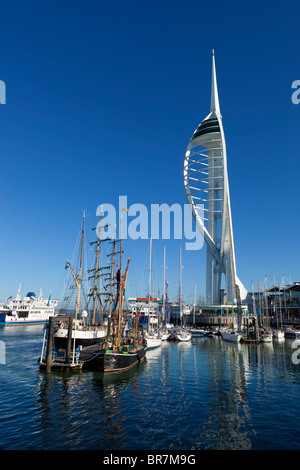 Spinnaker Tower and Gunwharf Quays in Portsmouth - Stock Photo