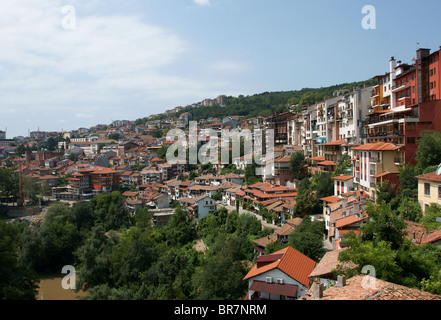 View from attractive town Veliko Tarnovo situated in Bulgaria Stock Photo