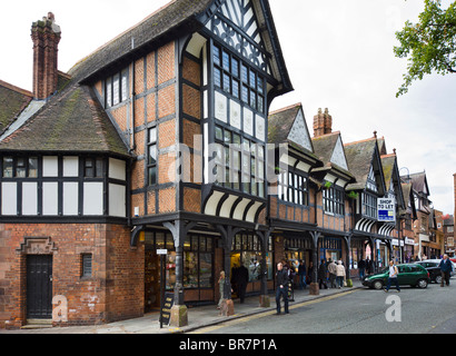 Historic shops in the city centre, Chester, Cheshire, England, UK - Stock Photo