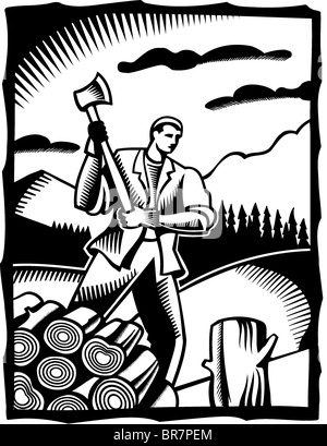 A black and white drawing of a man chopping wood with an axe - Stock Photo