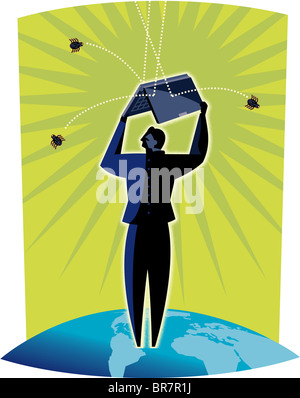 Illustration of a man standing on a globe using a laptop computer to shield him from grenades - Stock Photo