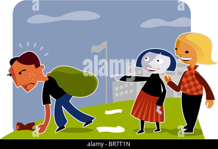 Two girls laughing at a boy doing garbage duty - Stock Photo