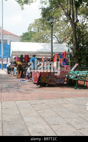 Street markte sale at Panama City Cathedral Plaza. - Stock Photo