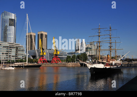 Corbeta Uruguay sail steamship naval museum moored in Dock 4, Puerto Madero, Buenos Aires, Argentina - Stock Photo