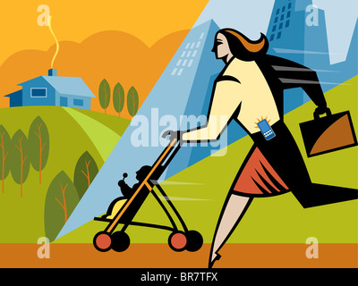 A businesswoman walking with her daughter in a stroller - Stock Photo