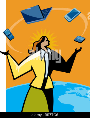 A woman juggling with different types of technology - Stock Photo