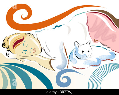 Illustration of a woman napping next to her cat - Stock Photo