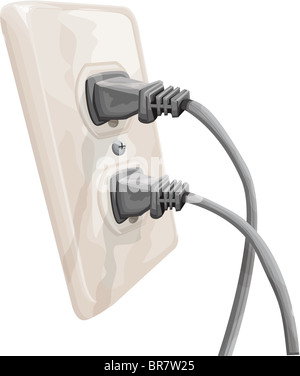 Illustration of two plugs in sockets - Stock Photo