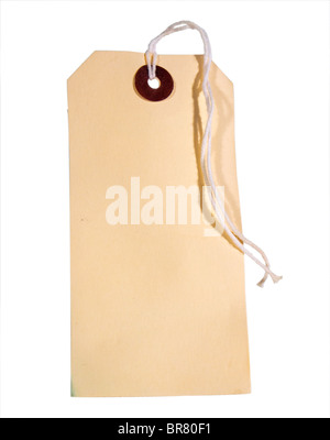 An old cardboard luggage label with a string tie - Stock Photo