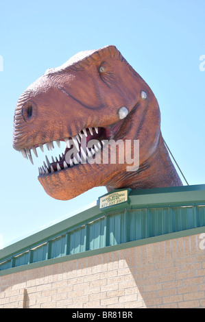 Dinosaur head above the entrance to the Dinosaur World, Glen Rose, Texas, USA - Stock Photo