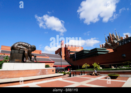 The British Library Courtyard with statue of Isaac Newton, Euston Road, London, England, UK - Stock Photo