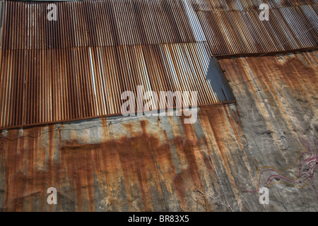 Rusty Corrugated Iron Roof - Stock Photo
