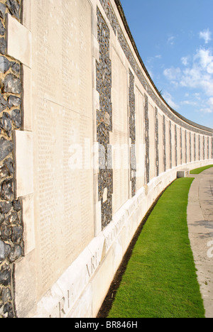Wall of the missing soldiers of WWI. Tyne Cot memorial, near Passchendaele, West Flanders, Belgium - Stock Photo