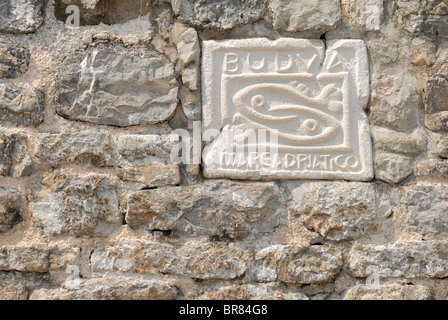 A fine detail of the wall of the Citadel fortress, also know as Castel St Mary, the defensive fortification of the - Stock Photo