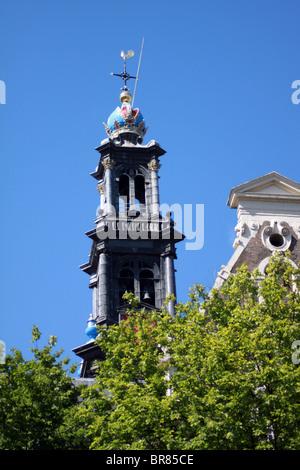 Westerkerk west church tower Amsterdam, Holland netherlands - Stock Photo