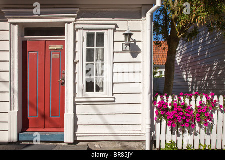 Old Stavanger (Gamle Stavanger) white boarded houses, Norway - Stock Photo