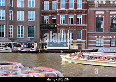 Amsterdam, Holland, Netherlands river boats - Stock Photo