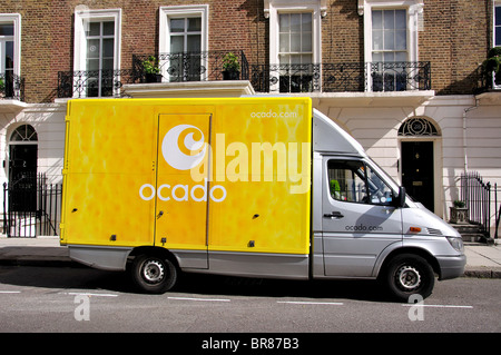 Ocado shopping delivery van, Lower Belgrave Street, Belgravia, City of Westminster, Greater London, England, United - Stock Photo