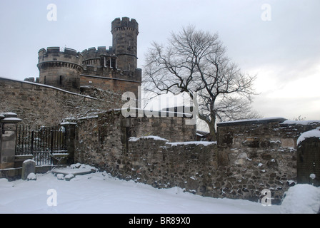 A wintry scene in Old Calton Burial Ground, Edinburgh, Scotland. - Stock Photo