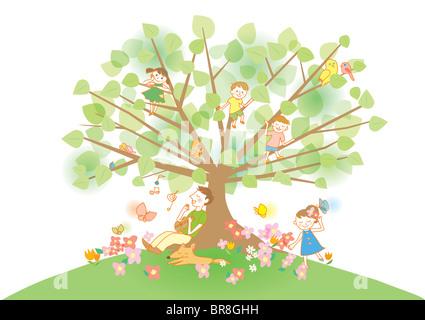 Family and Tree - Stock Photo
