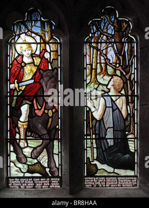 A stained glass window depicting Saint Martin of Tours, Clannaborough Church, Devon - Stock Photo