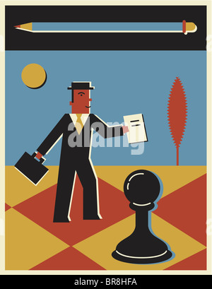 A businessman on standing on a huge chessboard - Stock Photo