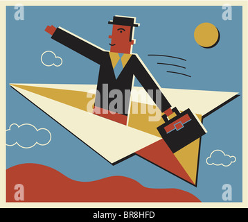 A businessman travelling on a paper airplane - Stock Photo