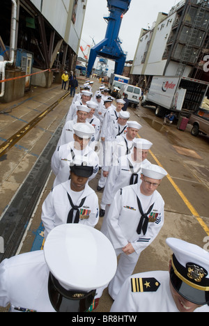 Christening ceremony of a new US Navy ship in Bath Maine. - Stock Photo