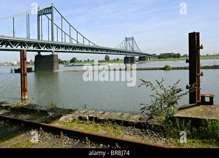 Uerdingen bridge over the Rhine, Krefeld, NRW, Germany. - Stock Photo