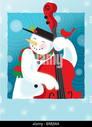 A happy snowman playing an upright bass - Stock Photo