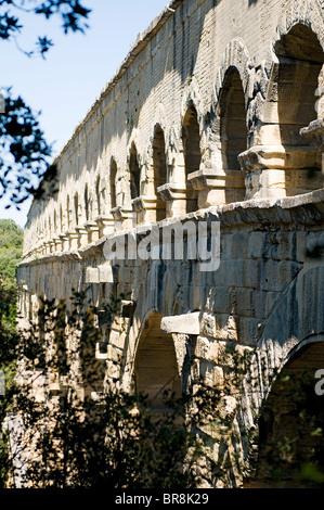 The Pont du Gard, Languedoc-Roussillon, France - Stock Photo