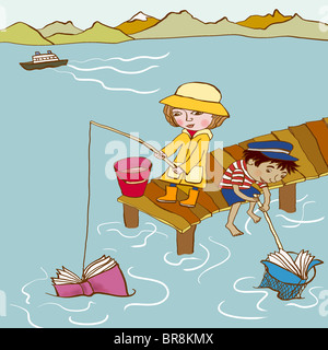 Two small children catching books in the sea - Stock Photo