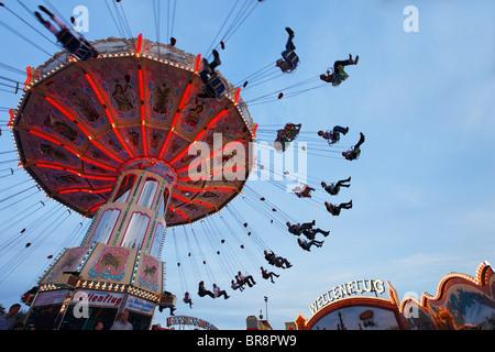 Chairoplane, Cannstatter Volksfest, Stuttgart, Baden-Wurttemberg, Germany - Stock Photo