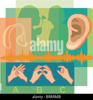 Collage of a doctor looking inside a patients ear, an ear, a hearing aid, and sign language - Stock Photo