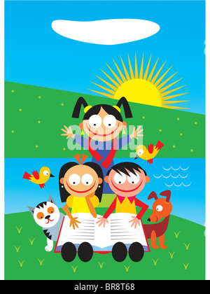 Three kids reading book by a river, surrounded by cat, dog and birds - Stock Photo
