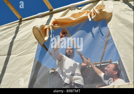 ... Israeli people prepare for the Jewish Holiday of Sukkot and building a Sukkah in Sderot town  sc 1 st  Alamy & Israeli people prepare for the Jewish Holiday of Sukkot and ...