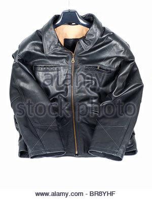 Black leather jacket - Stock Photo