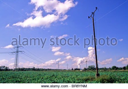 Coal Power Station in East Germany, south to the city of Leipzig - Stock Photo