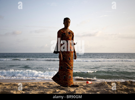 Young Liberian woman on the beach in Monrovia Liberia - Stock Photo