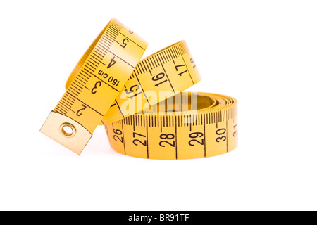 Tape Measure on white background. Object isolated - Stock Photo