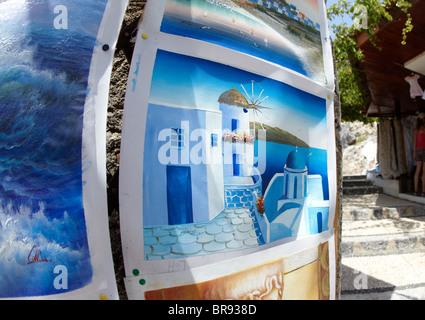 Greek Paintings In Lindos Rhodes Greek Islands Greece Hellas - Stock Photo