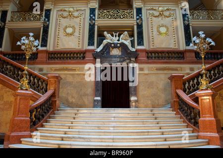 Main staircase in Lviv Opera House foyer. - Stock Photo