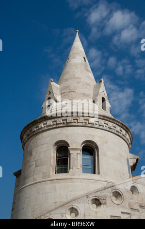 Hungary, capital city of Budapest. Buda, Castle Hill, castle towers of the Fishermen's Bastion. - Stock Photo