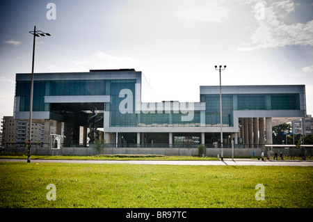 Museum of Contemporary Art in Novi Zagreb neighbor, on the modern part of the city of Zagreb, Croatia. - Stock Photo