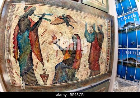 Classical Greek Paintings In Lindos Rhodes Greek Islands Greece Hellas - Stock Photo