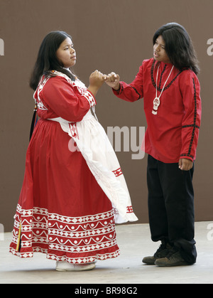 A couple of young Chactaw Indians performing a Wedding Dance during the annual Southeast Tribes Festival.