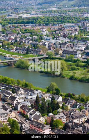 Germany, Rheinland-Pfaltz, Mosel River Valley, Trier. High angle view of town along Mosel River from the west. - Stock Photo