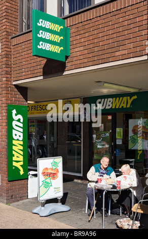 Subway restaurant in Chester town centre, Cheshire, England, UK - Stock Photo