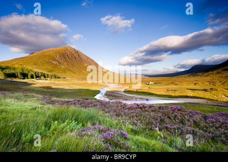 Glencoe. View towards Rannoch Moor, River Coupall in foreground, Beinn a' Chrulaiste on left. Highland, Scotland, - Stock Photo